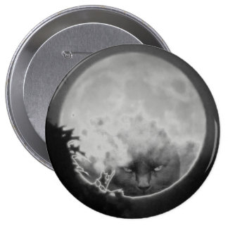 Black Cat in the Full Moon Flair 4 Inch Round Button