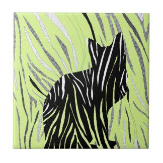 Black Cat in the Grass Tile