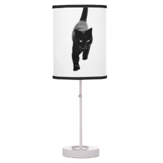 Black Cat in the Snow - Table Lamp