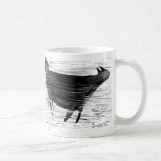 Black cat in wind and air basic white mug