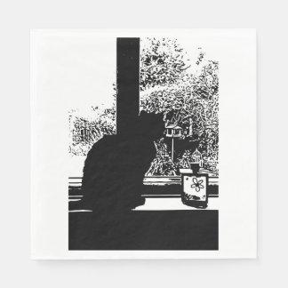 Black cat in window napkin