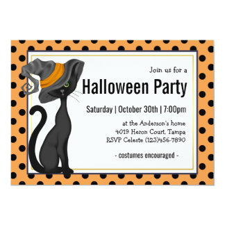 Black Cat in Witch Hat Halloween Party Card