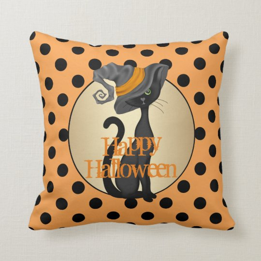 Black Cat in Witch Hat Happy Halloween Throw Pillow
