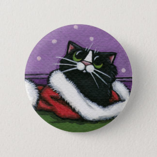 Black Cat in Xmas Hat - Cat Art Button