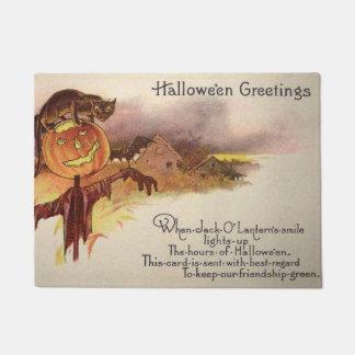 Black Cat Jack O' Lantern Pumpkin Bat Owl Doormat