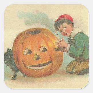 Black Cat Jack O Lantern Pumpkin Boy Square Sticker