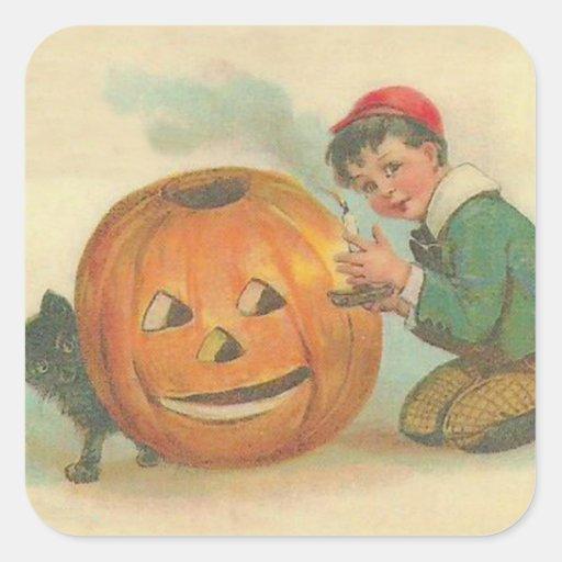 Black Cat Jack O Lantern Pumpkin Boy Stickers