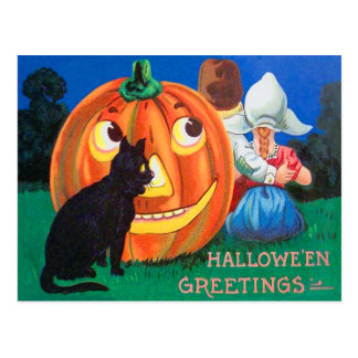 Black Cat Jack O Lantern Pumpkin Children Postcard