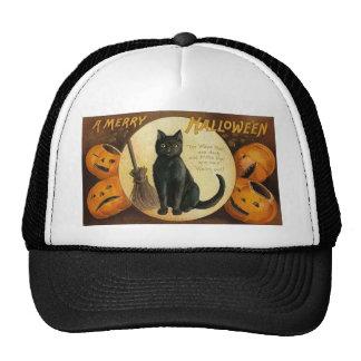 black cat & jackolanterns mesh hat