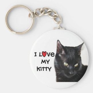 "Black Cat Keychain ""I love my Kitty"