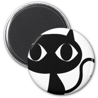 BLACK CAT KITTEN 2 INCH ROUND MAGNET