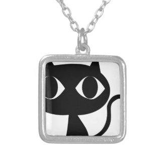 BLACK CAT KITTEN SILVER PLATED NECKLACE