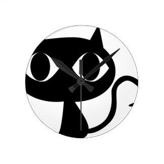 BLACK CAT KITTEN WALLCLOCKS