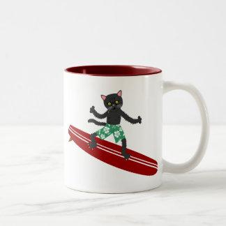 Black Cat Longboard Surfer Mug