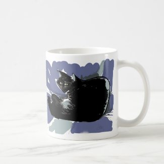 Black cat looks out from violet-blue