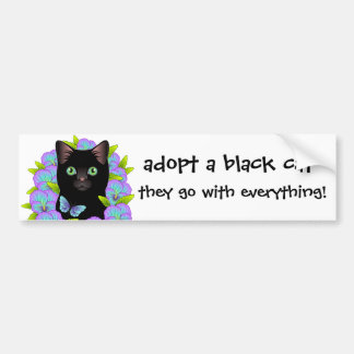 Black Cat Love Adopt a Shelter Cat! Floral Kitty Bumper Sticker