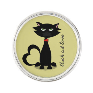 black cat love -chartreuse lapel pin