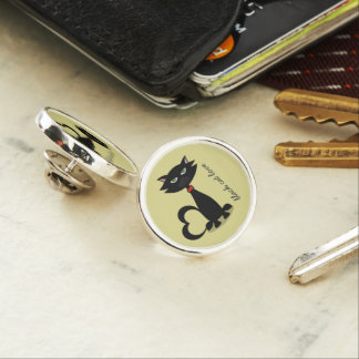 black cat love lemon chartreuse pin