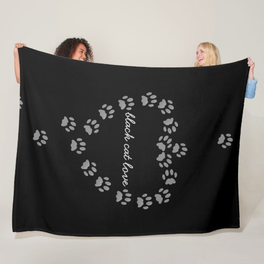 Black Cat Love Paw Print Heart Fleece Blanket