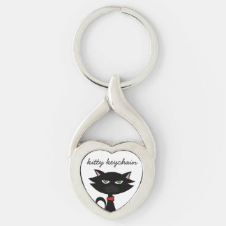 black cat love silver heart Kitty Keychain