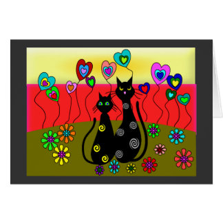 Black Cat Lovers Art Gifts Greeting Card