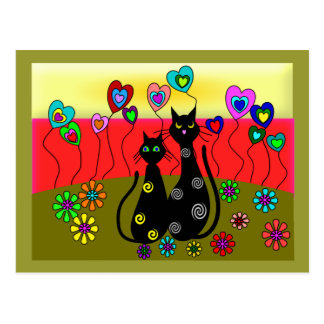 Black Cat Lovers Art Gifts Postcard