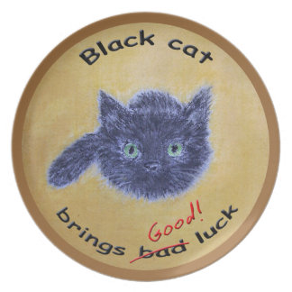 Black cat lucky charm plate