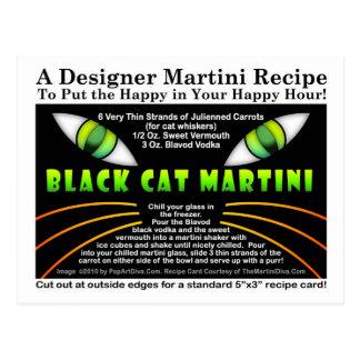 Black Cat Martini Recipe Postcard for Halloween