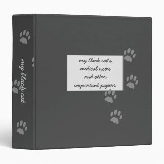Black Cat Medical Notes Storage Personalized 3 Ring Binders