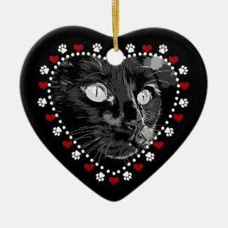 Black Cat Merry Yule Heart Ornament