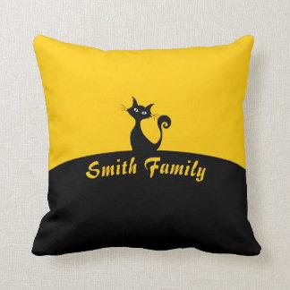 Black Cat Minimal Art, Name or Text Throw Pillow