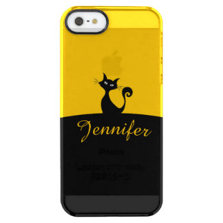 Black Cat Minimal Art, Your Name Clear iPhone SE/5/5s Case