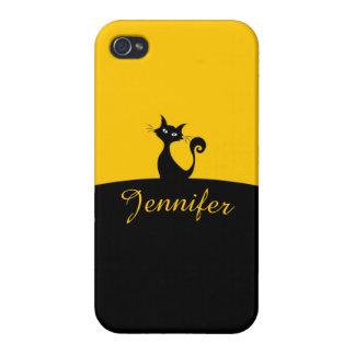 Black Cat Minimal Art, Your Name iPhone 4/4S Cases
