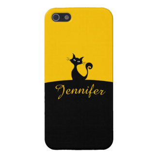 Black Cat Minimal Art, Your Name iPhone 5/5S Cover