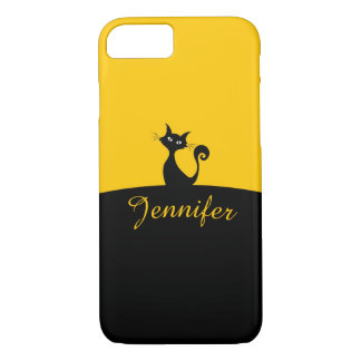 Black Cat Minimal Art, Your Name iPhone 8/7 Case