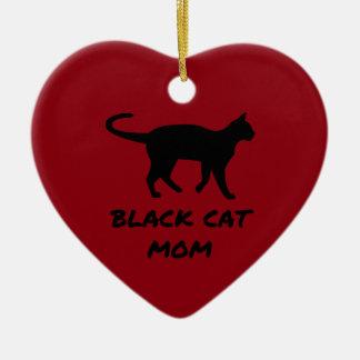 Black Cat Mom Ceramic Heart Ornament