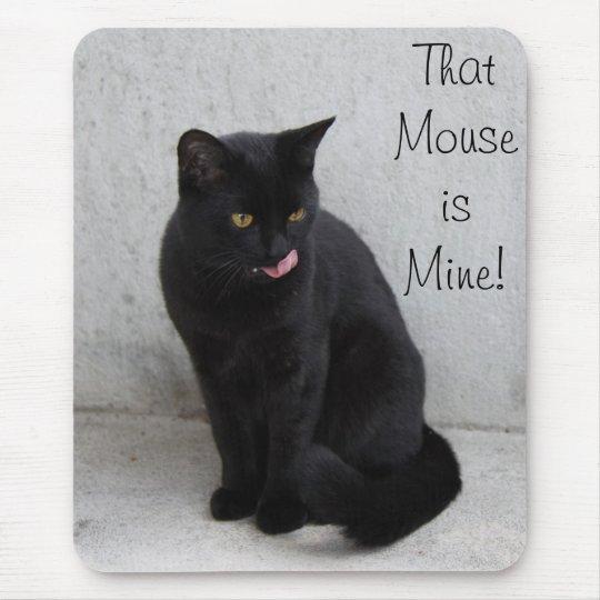 Black cat mousepad customize