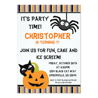 Black Cat n Spider Halloween Birthday Party Invite