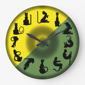 BLACK CAT NUMBERS green yellow by Slipperywindow Large Clock