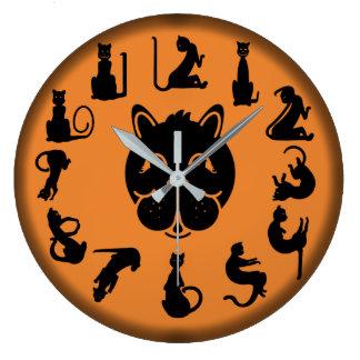 BLACK CAT NUMBERS ORANGE by Slipperywindow Large Clock