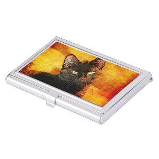 BLACK CAT OLIVE BUSINESS CARD HOLDER