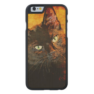 BLACK CAT OLIVE CARVED MAPLE iPhone 6 CASE