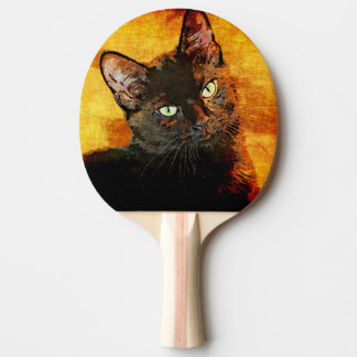 BLACK CAT OLIVE PING PONG PADDLE