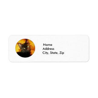 BLACK CAT OLIVE RETURN ADDRESS LABEL