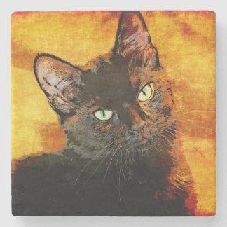 BLACK CAT OLIVE STONE COASTER