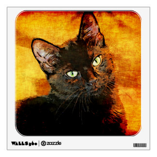 BLACK CAT OLIVE WALL DECAL