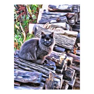 Black cat on a pile of wood customized letterhead