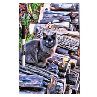 Black cat on a pile of wood dry erase board