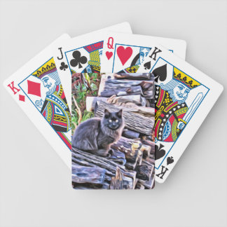 Black cat on a pile of wood poker deck