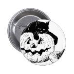 Black Cat On A Pumpkin 2 Inch Round Button